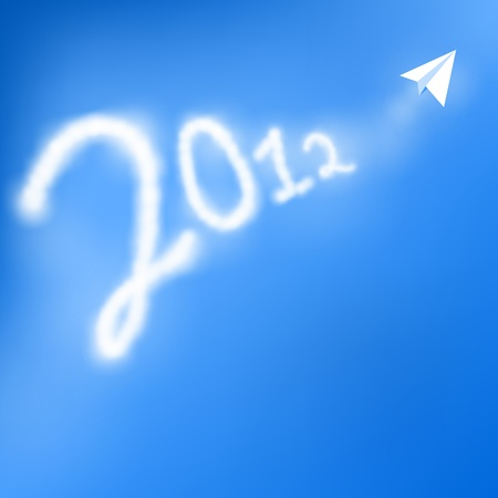 trace of the plane in the sky 2012 Vector