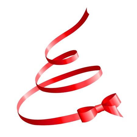 크리스마스 나무의 모양에 빨간색 새틴 활 일러스트