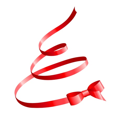 red satin bow in the shape of Christmas tree