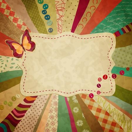 red polka dots: color de fondo con trozos de tela y una mariposa para tus fotos