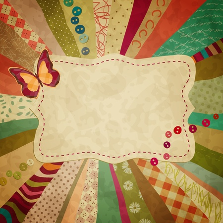 colorful background with pieces of cloth and a butterfly for your photos Vector