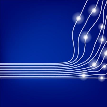 network cable: blue optical fibres Illustration