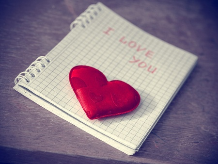 red heart on the notebook