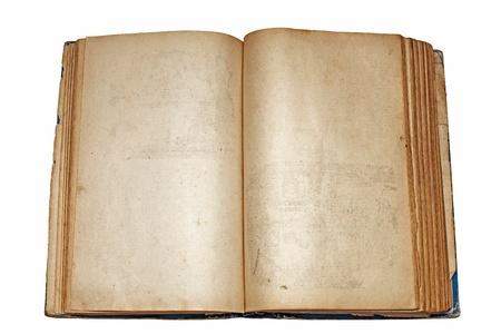 een oude open boek op witte achtergrond