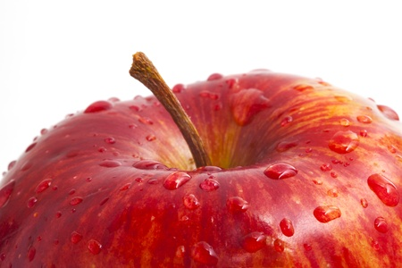 red apple with drops of close photo
