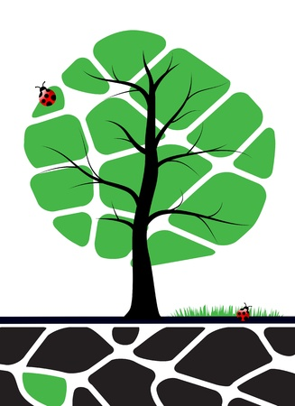 grass roots: Tree illustration with green leafs  Nature symbol graphic design