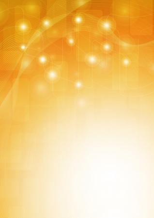 oranje achtergrond met lijnen, vierkanten, en de gloed