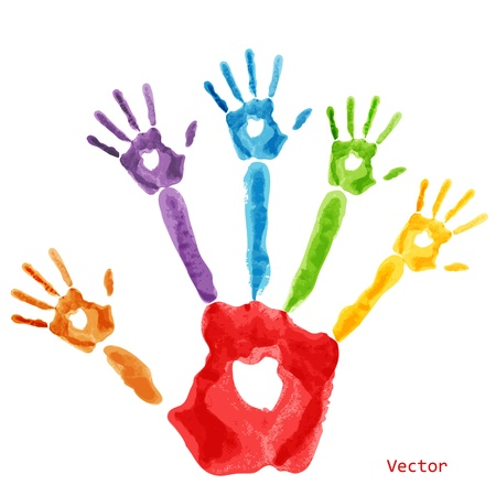 Colourful handprint paint on a white background Vector