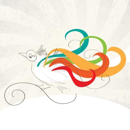 paloma caricatura: aves de colores en fondo retro