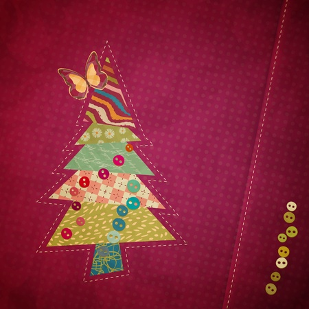 applique fabric Christmas tree with bow Vector
