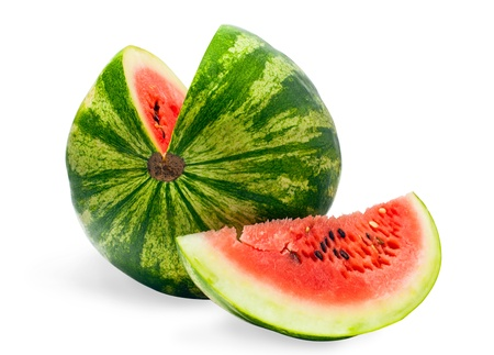water melon: sliced   watermelon on a white background Stock Photo