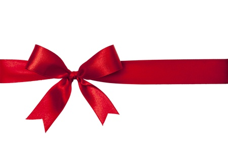 Shiny red satin ribbon on white background Banco de Imagens