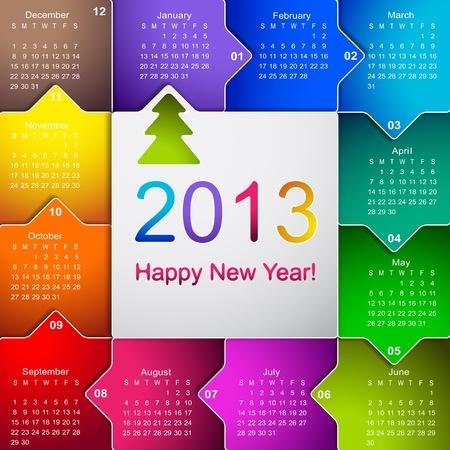calendario escolar: Limpie el calendario de pared 2013 negocios Vectores
