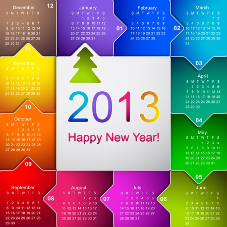 Reinig 2013 zakelijke wandkalender Stock Illustratie