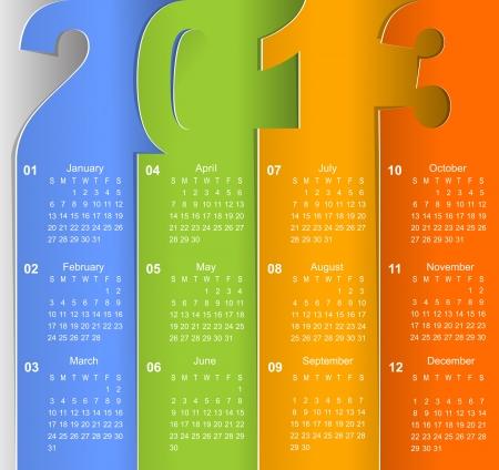 Clean 2013 business wall calendar Illustration