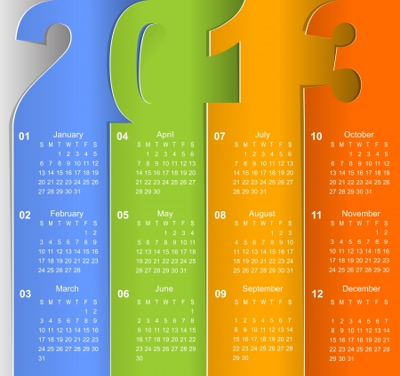 Clean 2013 business wall calendar Illustration