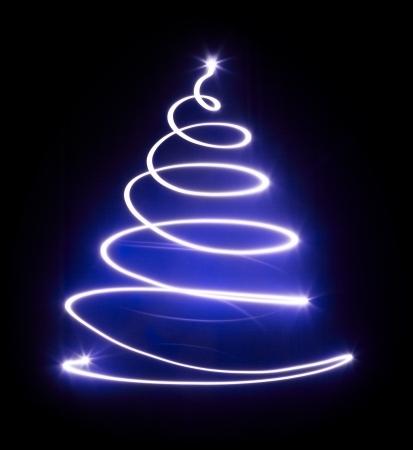 christmas bulbs: Christmas tree with light and blue star  Black background