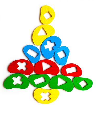 Christmas tree toy of the elements, geometric shapes, bright colors Stock Photo - 15898895