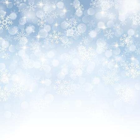 아름다운 다양한 눈송이와 겨울 배경 일러스트