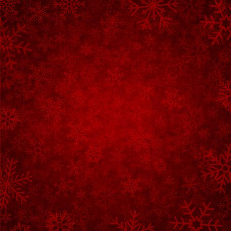 red winter background with beautiful various snowflakes Vector