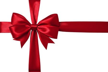 Shiny red satin ribbon on white background 写真素材