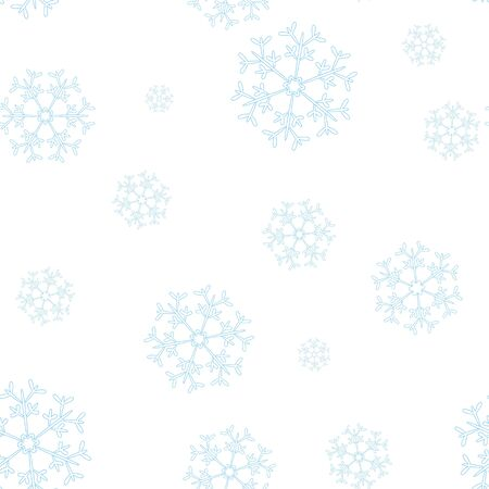windstorm: seamless winter pattern with blue snowflakes on white background Illustration