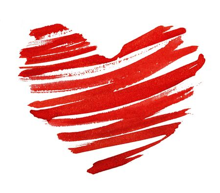 red heart painted in watercolor on white background Stock Photo - 17730734