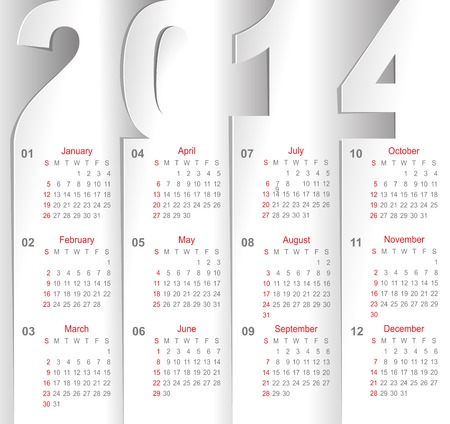 calendar on white sheets of paper Vector