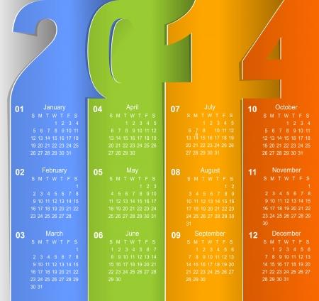 Clean 2014 business wall calendar Vector