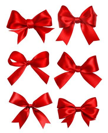 christmas frame: Shiny red satin ribbon on white background Stock Photo