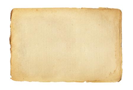 blad van oud papier geïsoleerd op een witte achtergrond