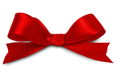 Shiny red satin ribbon on white background photo