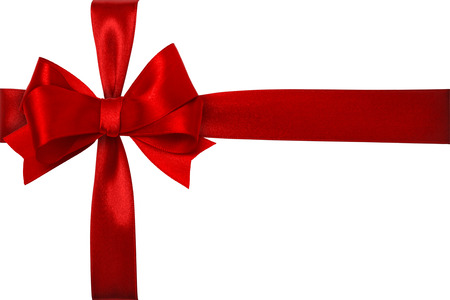 Shiny red satin ribbon on white background photo