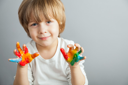 little girl and boy hands painted  in colorful paints Stock Photo - 39075748