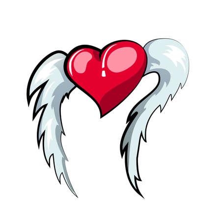 vector illustration of flying heart