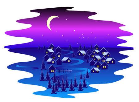 non urban scene: vector illustration of night winter village