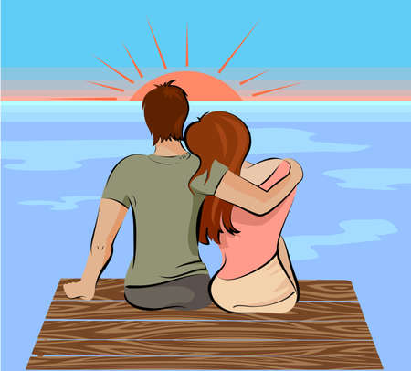valentine s day beach: vector illustration of two loving people and sunset