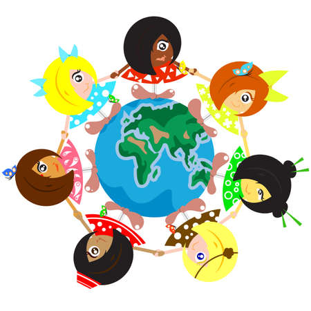 multi ethnic group: Illustration of Multicultural Children Around The Earth Stock Photo
