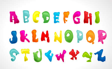 Illustration of funny colorful alphabet with big letter