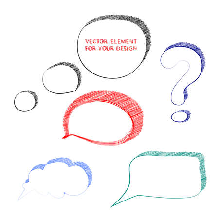 illustration of speech bubbles in scribble style Vector