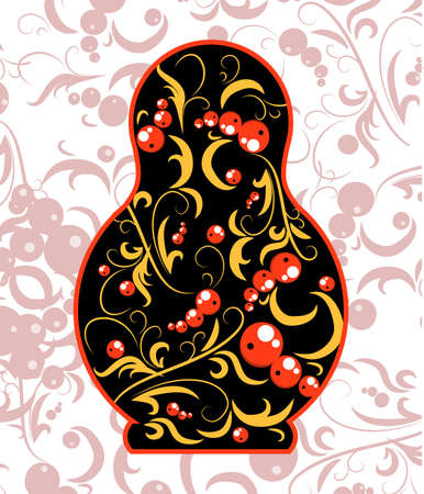 vector illustration the russian pattern in the national doll shape Vector