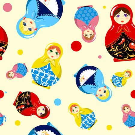 matrioshka: Russian traditional folk matrioshka doll souvenir. Seamless pattern background