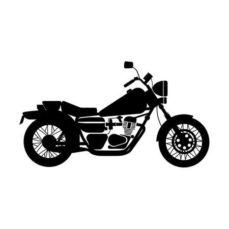 off road biking: vector illustration of silhouette black motorcycle