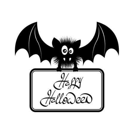 flaying: Vector illustration of cute bat flying. Happy Halloween text.