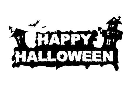 flaying: Happy halloween text with black house. Vector illustration.