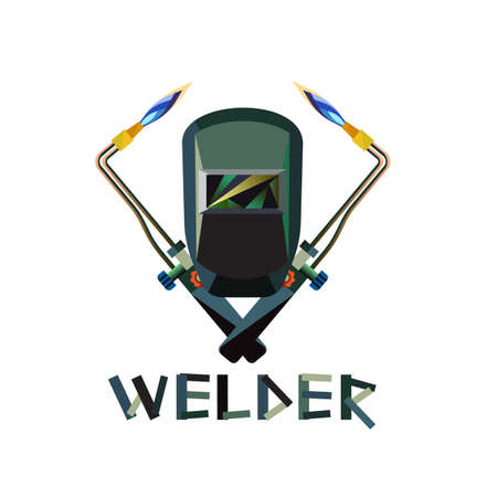 Vector illustration of Mask And Welding Torch with flame Иллюстрация