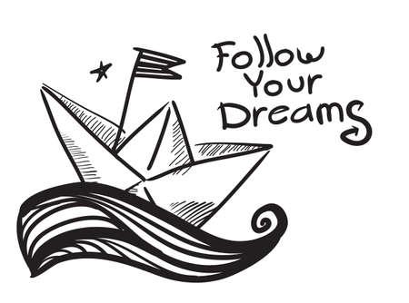 folded paper: Paper Boat Illustration Illustration