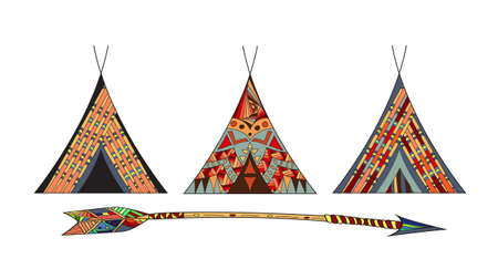 Cartoon Wigwams or Tepees Icons Set Native Indian Home. Illustration