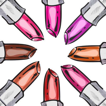 Vector illustration of lipsticks random color. Illustration