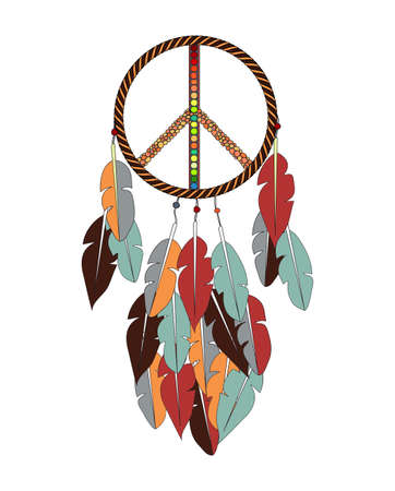 singn: Vector ethnic colorfull dreamcatcher with pacific singn.
